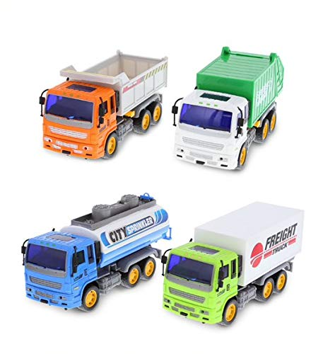 Mozlly Friction Utility Vehicle Pack - Includes Freight, Garbage, Water Tank, & Construction Toy Trucks for Kids, Fun Pretend Play City Trucks Toys for Boys & Girls, for Indoor & Outdoor - Set of 4