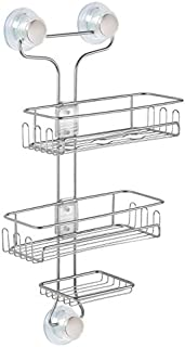 InterDesign Turn-N-Lock 3-Tier Suction Shower Caddy Organizer for Shampoo/Conditioner/Soap/Razors, Silver