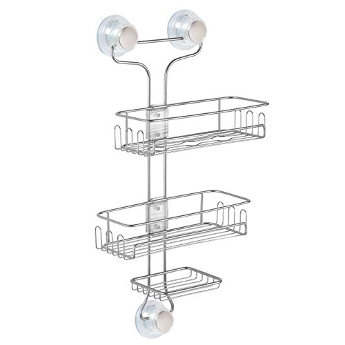 Price comparison product image InterDesign Turn-N-Lock 3-Tier Suction Shower Caddy Organizer for Shampoo / Conditioner / Soap / Razors,  Silver