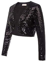 Black Sequin Fabric Long Sleeve Cropped Blazer Bolero Shrug