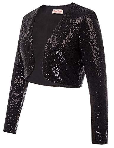 Belle Poque Women's Black Sequin Jacket Blazer for Clubbing Shrug for Evening Dresses (Black,XL)