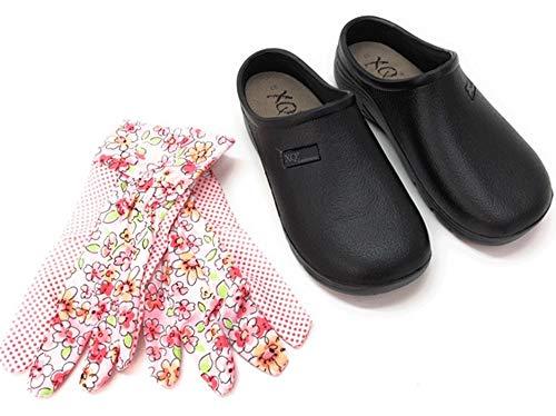 Trachten-Dirndl-More Damen Clogs schwarz Pantoletten mit Gartenhandschuhe Uni Glatte Sohle (Numeric_41)