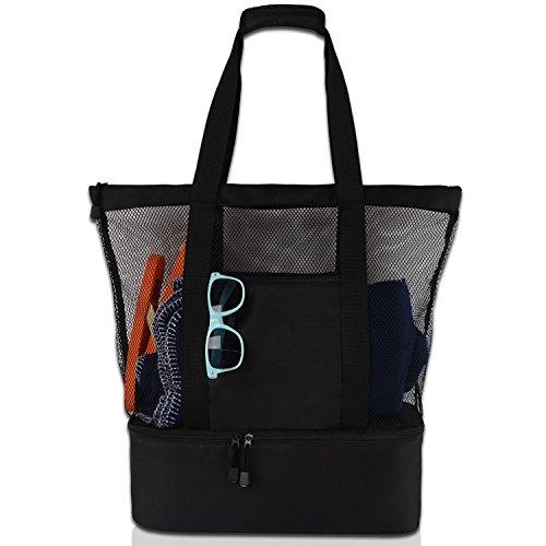 DOPN Bolsa de playa, de la compra, de baño, impermeable, compartimento refrigerador, bolsa de pícnic, con bolsillos de malla de gran tamaño, con cremallera, para playa, vacaciones, viajes, pícnic