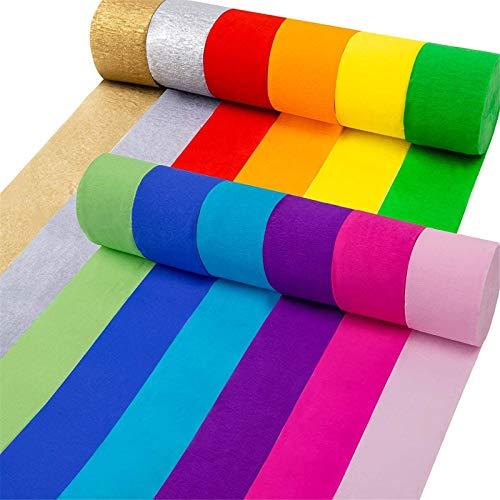 Coceca 12 rollos de papel crepé serpentinas en 12 colores para ceremonia de boda, varios festivales grandes decoración