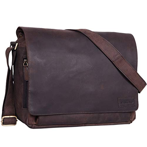 STILORD 'Rick' Borsa Vintage a tracolla in pelle da uomo & donna Porta documenti PC 15.6' Messenger per Università e Ufficio vera pelle, Colore:marrone scuro - pallido