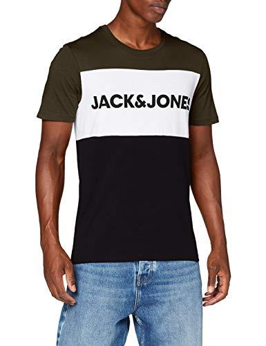 JACK & JONES Jjelogo Blocking tee SS Noos Camiseta, Multicolor (Green/Forest Night), L para Hombre