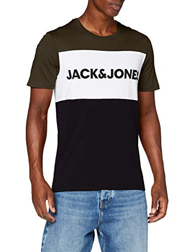 JACK & JONES Jjelogo Blocking tee SS Noos Camiseta, Multicolor (Green/Forest Night), L para Hombre