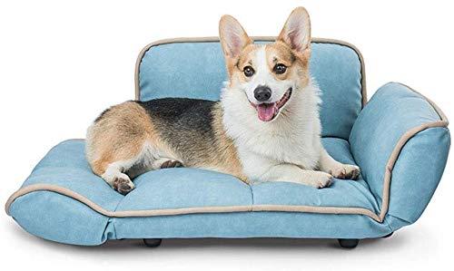 YLCJ Sofa bed Meubilair voor dieren Items voor hond nesten Orthopedische hond Lounge stoel Stijl bank Hoekbank met stijf ademend katoen voor katten (Kleur: blauw, Maat: 72 * 60 * 37 cm), 72*60*37CM, Blauw