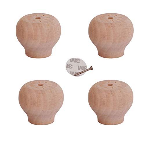 zj01123 4 patas de muebles de madera, pan redondo, repuesto para muebles de sofá, gabinete de sofá, pies, varias alturas, color madera