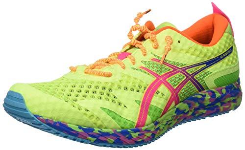 Asics Gel-Noosa Tri 12, Running Shoe para Hombre, Seguridad Amarillo/Rosa Fuerte, 42.5 EU