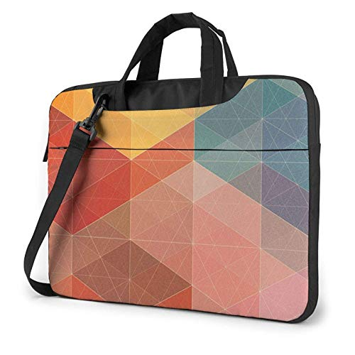 Colorful Grids Mosaics Laptop Bag Compatible with 13-15.6in Laptop Carrying Shoulder Handbag with Strap