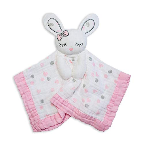 lulujo Lovey Blankets| Unisex Security Blanket & Toy| Softest Breathable Cotton Muslin| 15'x15'| Pink Bunny
