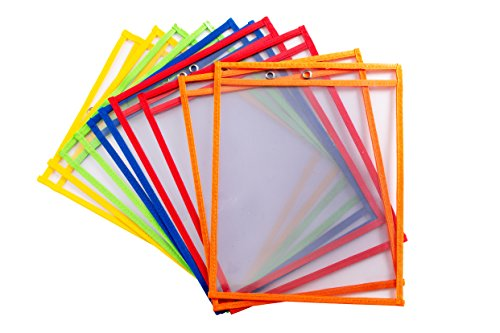 10 Dry Erase Pockets, Oversize 10 Inch x 13 Inch Pockets, Perfect for Classroom Organization, Reusable Dry Erase Pockets, Teaching Supplies, Multi-Color, 10 Pack
