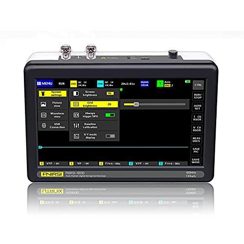 Osciloscopio de Almacenamiento Digital,Meroteen Osciloscopio Digital 1013D(2 Canal)100MHz Ancho de Banda 1GSa/s Osciloscopio de Frecuencia de Muestreo con Pantalla Táctil LCD TFT Color de 7 Pulgadas