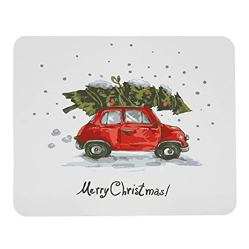 Wozukia Christmas Mouse Pad Red Retro Style Car Xmas Tree Vintage Family Style Snowy Winter Art Mouse Pad Computer Accessories Home Office Space Cubicle Decor Gaming Mouse Pad Design 9.5 X 7.9 Inch