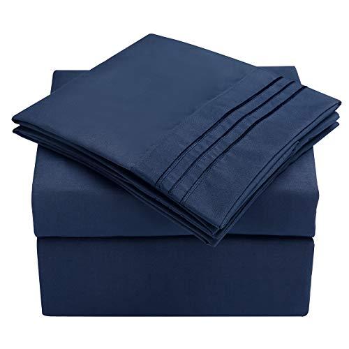 HooSeen Juego de sábanas de 4 piezas de microfibra serie 1800 resistente a las arrugas y a la decoloración, bolsillo profundo, juego de cama hipoalergénico, funda de almohada