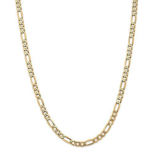 Collana in oro giallo 14 kt 5,25 mm piatta a catena ro 45,7 cm per uomo e donna