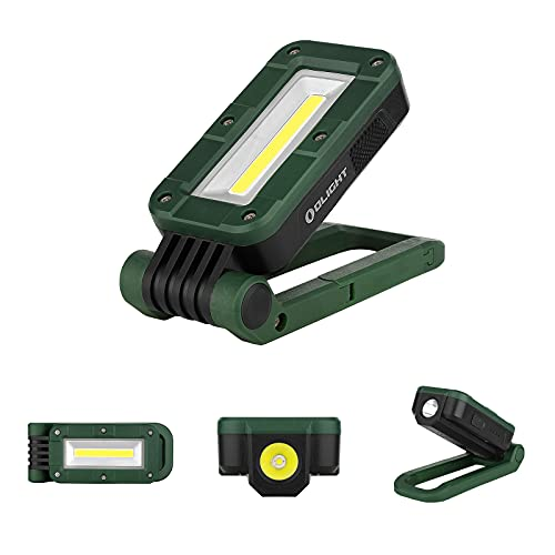 OLIGHT Swivel 400 Lumens LED Compact Rechargeable Magnetic COB Work Light, Adjustable Stand with Magnetic Base and Hanging Hook, 90 Hours Lasting Power, Job Site Lighting for Camping (Moss Green)