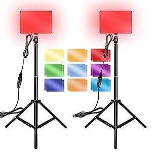 Kit Iluminación Fotografía 2 Pack, Orthland Luz de Video LED, Regulable 3200K-5600K, 132 Luz de Video LED con Soporte de Trípode Plegable Ajustable y Filtros Color para Grabación