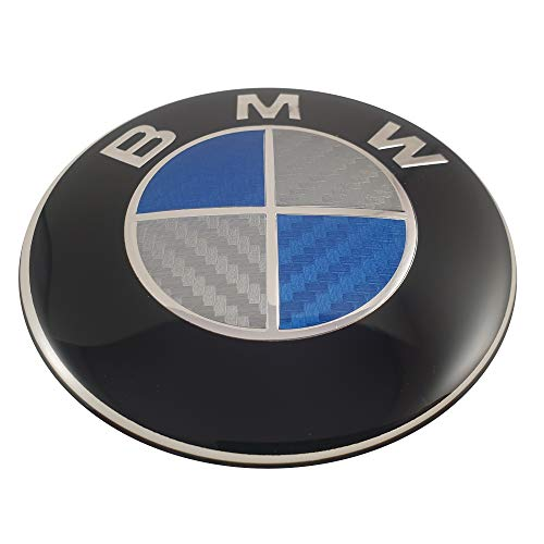 LUDOSTREET ref0001 Logo Emblema Badge Anagram Compatibile con BMW 82mm Car cofano anteriore (Blu - Bianco Carbone)