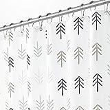 mDesign Cortina de ducha con moderno diseño de flechas – Cortinas de baño con ojales reforzados – Accesorio para ducha de cuidado fácil – multicolor gris y blanco
