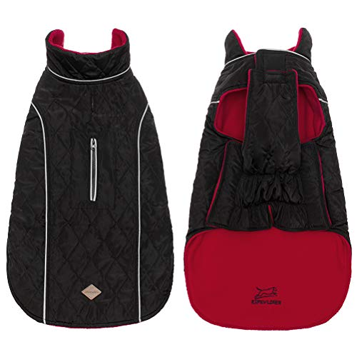 EXPAWLORER Winter Self Warming Dog Down Coat Cozy Waterproof Lightweight Reversible Classic Long Collar Dog Fleece Vest Cold Weather Jacket for Hiking Outdoor Red Black Small