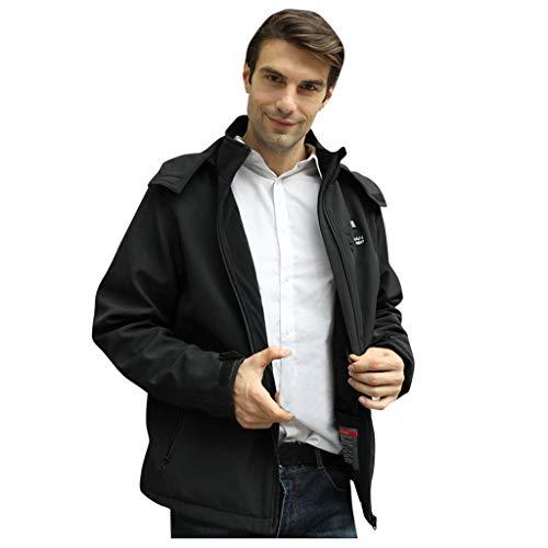 FONMA Winter Men's USB Electric Abdominal Back Heated Hooded Coat Jacket Temp Control Black