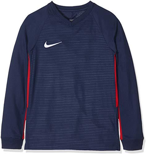 Nike Tiempo Premier LS, T-Shirt A Manica Lunga Unisex Bambini, Midnight Navy/University Red/(White), XS