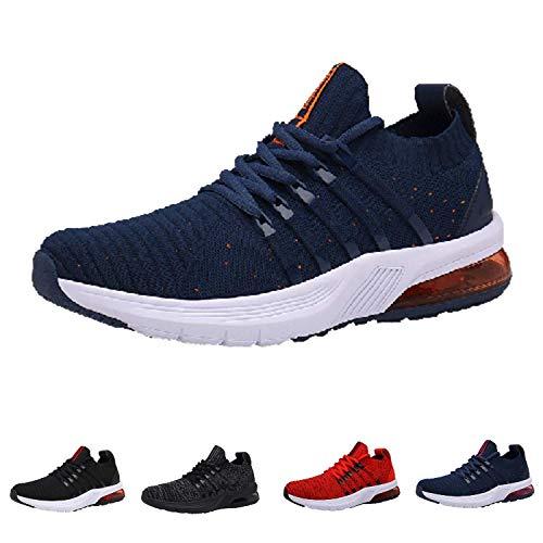 Monrinda Zapatillas de Running Hombre Mujer Air Correr Deportes Calzado Aire Libre Comodos Sneakers Gimnasio Casual Blueorange 46EU