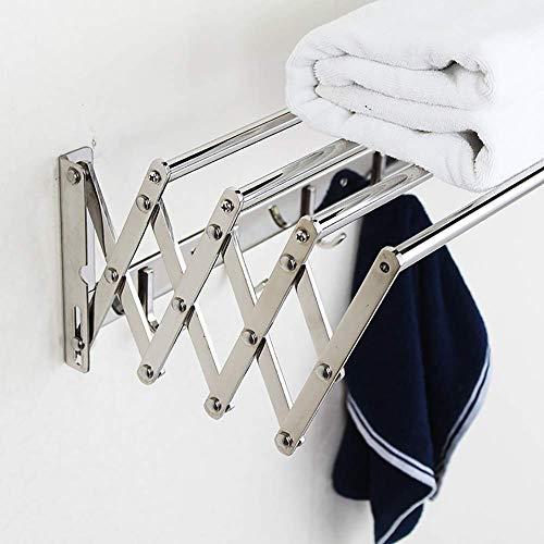 Estante de almacenamiento, estante de secado de toallas montado en pared, espacio para guardar espacio de acero inoxidable toalla de acero inoxidable osoor uso exterior plegable laury secando estante
