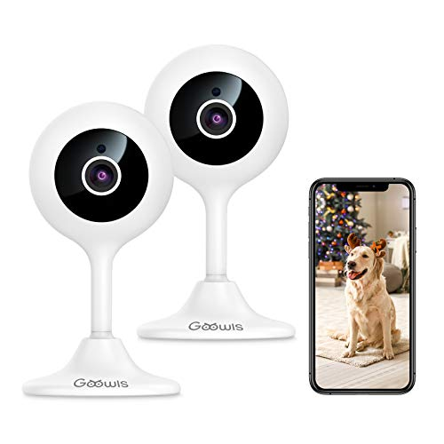Goowls Security Camera Indoor, 2-Pack 1080p HD 2.4GHz WiFi Plug-in IP Camera for Home Security, Baby/Dog/Pet/Nanny Camera Monitor with Motion Detection Night Vision Two-Way Audio, Works with Alexa. Buy it now for 39.99