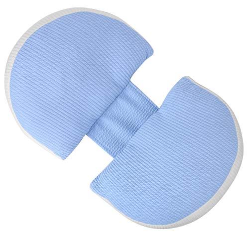 U tipo almohada de látex natural para mujeres embarazadas, tela tejida, almohada para dormir lateral(Latex filled Moro blue)
