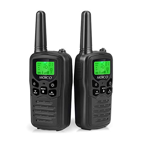 Walkie Talkie,MOICO Long Range Walkie Talkies for Kids and Adults with 22 FRS Channels,Two Way Radio with VOX LCD Display with LED Flashlight for Biking Hiking Camping(Black)