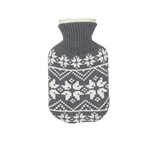 TOPofly Wärmflasche 500ml Premium Classic Rubber Heiß oder Kalt-Wasser-Flasche mit Strickbezug für Heim und Outdoor-Grau 1Set