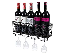 TQVAI Wall Mounted Wine Rack with 4 Glass Holder Cork Storage Home Kitchen Décor