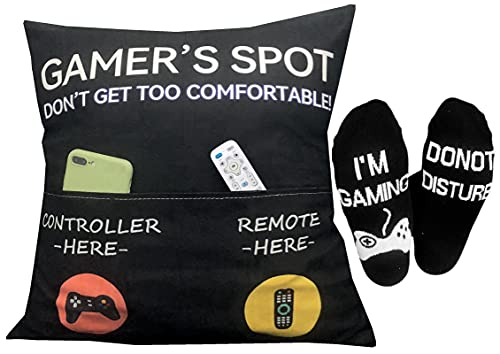 Gaming Room Décor, Pocket Design Gamer's Spot 18X18Inch Throw Pillow Covers 18 x 18 Inch + Gamer Socks, Stocking Stuffers Gaming Gifts Easter Basket Stuffers for Teen Boys Girls Men Father Boyfriends