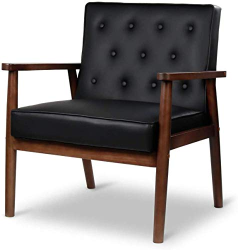 JOYBASE Mid-Century Retro Modern Accent Chair - Wood Frame and PU Leather Upholstered, Arm Chair for Living Room (Black)