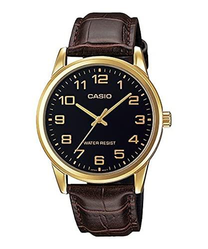 Casio Reloj Correa de cuero marrón para hombre, esfera negra, mtp-v001gl-1b