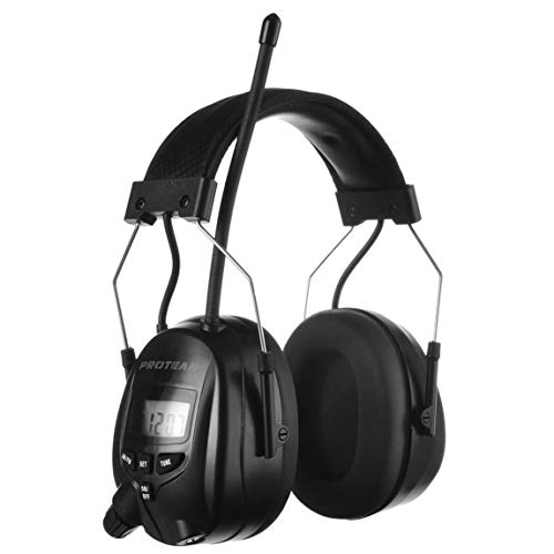 PROTEAR Gehörschutz mit Radio, Kopfhörer mit AM FM,MP3-kompatibel,für Industrie,BAU und Mähen Professionelle Lärmreduzierung,SNR 30dB(Schwarz )