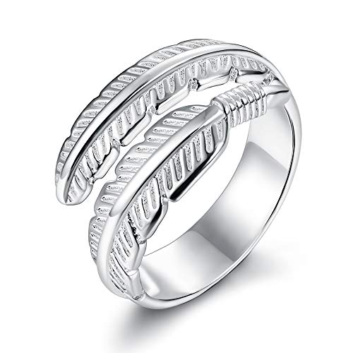 Besteel 925 Sterling Silver Ring for Women Girls Wedding Engagement Eternity Ring Feather Angel Wings Adjustable Open Ring