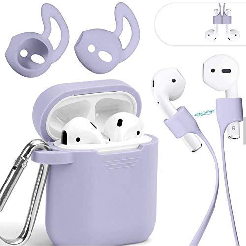 Mauri - Funda para AirPods de silicona compatible con auriculares Apple Earpods 2 y 1, con soporte de carga inalámbrica y mosquetón, color morado
