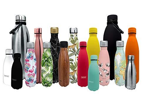 Nerthus FIH 606 606 dubbelwandige kruik voor koude en warme dranken design oranje 500 ml BPA-vrij deksel luchtdicht roestvrij staal 18/24