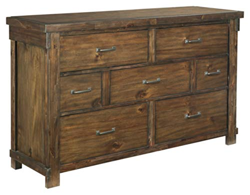 Ashley Furniture Signature Design - Lakeleigh Dresser - Casual - 7 Drawers - Rustic Brown Finish - Dark Zinc Hardware