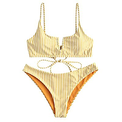 ZAFUL Women's V-Wired Striped Reversible Two Piece Bikini Set Strappy Swimsuit (Yellow, S)