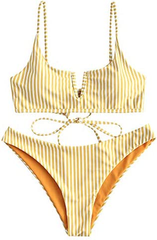 ZAFUL Women s V Wired Striped Reversible Two Piece Bikini Set Strappy Swimsuit Yellow M product image