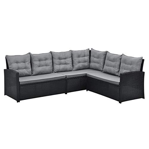 SVITA Monroe Polyrattan Ecksofa Rattan-Lounge Esstisch Gartenmöbel-Set Sofa Garnitur Couch-Eck (Lounge Set, Schwarz) - 3