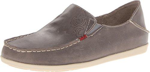 OLUKAI Women's Nohea Nubuck Slip On Shoes, Basalt/Tapa, 8