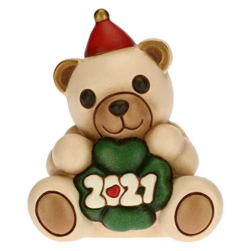 THUN - Soprammobile Orsetto Capodanno Buon 2021 - Accessori per la Casa da Collezionare - Formato Piccolo - Variante Rossa - Ceramica - 7,5 x 5,8 x 8,5 h cm