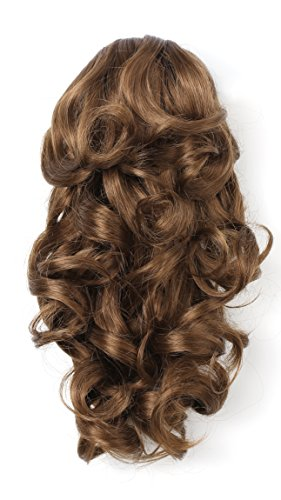 """Onedor 12"""" Synthetic Fiber Natural Textured Curly Ponytail Clip In/On Hair Extension Hairpiece (12# - Light Brown)"""