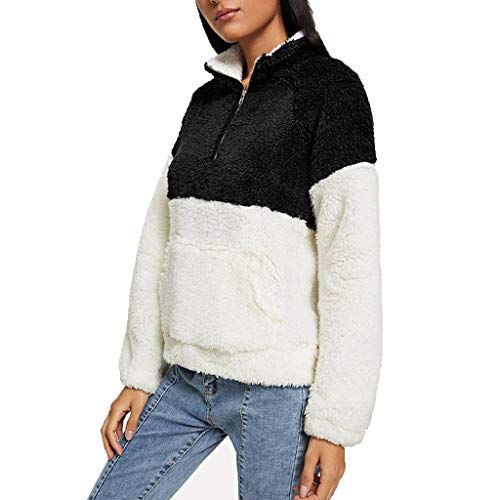 KPPONG Pullover Damen Teddy-Fleece Stehkragen Sweatshirt Kontrastfarbe Warm Pulli Winter Boyfriend Fleecejacke Outwear